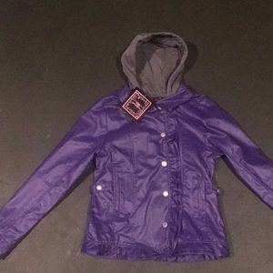 NEW Girl 16 Faux Leather Purple Coat Jacket Hoodie